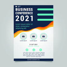Flat Business Conference Brochure Template With Wavy Shapes
