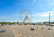 The Large Ferris Wheel At The Harbor City Of Honfleur On The Normandy Coast Of France