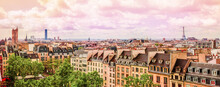 Panoramic View Aerial Skyline Of Paris On City Center. Landscape Of Eiffel Tower, Sacre Coeur Basilica, Churches And Cathedrals Architecture On Streets Paris, France.