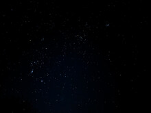 A Night Sky With Star Clusters (The Pleiades, Orion Belt Cluster)