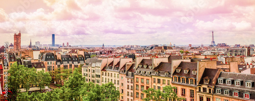 Fotografie, Obraz Panoramic view aerial skyline of Paris on city center