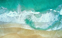 Soft Beautiful Ocean Wave On Sandy Beach.