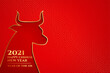 Happy chinese new year of the ox 2021 on red background