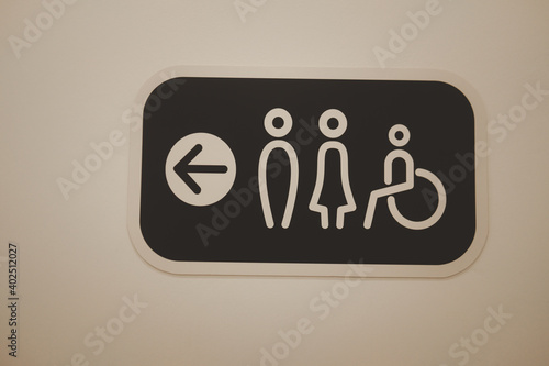 Papel de parede Restroom sign toilet male female and cripple public on wall