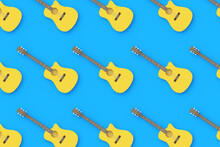 Row Of Vintage Guitars On Blue Background. Retro Stringed Instrument. Musical Education. Live Concert Concept. Top View. 3d Rendering
