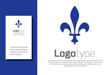 Blue Fleur De Lys Icon Isolated On White Background. Logo Design Template Element. Vector.