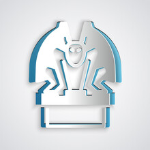 Paper Cut Gargoyle On Pedestal Icon Isolated On Grey Background. Paper Art Style. Vector.