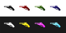 Set Vintage Pistols Icon Isolated On Black And White Background. Ancient Weapon. Vector.