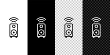 Set Line Smart Stereo Speaker System Icon Isolated On Black And White Background. Sound System Speakers. Internet Of Things Concept With Wireless Connection. Vector.