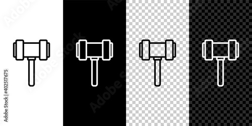 Canvas-taulu Set line Judge gavel icon isolated on black and white background