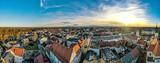 Fototapeta Miasto - Pszczyna na Śląsku w Polsce, rynek i stare miasto z lotu ptaka