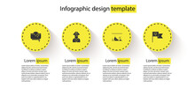 Set Pirate Hat, Captain, Sunken Ship And Flag With Skull. Business Infographic Template. Vector.