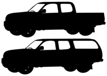 Two Pick Up Trucks, Silhouette In Black On White Background, Vector Graphic