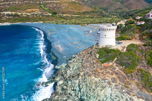 Drone aerial view of Plage de Nonza with the Genoese tower, the long black beach Fototapeta