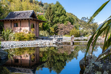 Blue Sky With Pond And Tea House At Miyazu Japanese Garden In Nelson, South Island, New Zealand