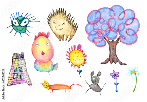 Funny children's set animals isolated on a white background Fototapet