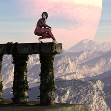 Illustration Of A Beautiful Woman Wearing A Form Fitting Red And Black Leather Outfit With Bare Feet Crouching Atop Ancient Ruins On An Alien World.