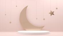Crescent, Moon, Stars On Muslim Feast. Holy Islam Religious Month. Ramadan Mubarak Invitation Paper Cut. Sleep Bedtime, Sleepy Card With Golden Decor And Copy Space. Ramadan Kareem 3d Illustration