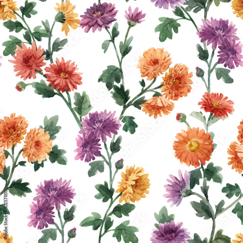 Obraz na plátně Beautiful seamless floral pattern with watercolor gentle blooming chrysanthemum flowers