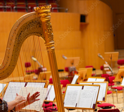 Fotografie, Tablou Golden harp in a concert hall