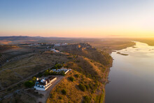 Juromenha Castle, Village And Guadiana River Drone Aerial View At Sunrise In Alentejo, Portugal