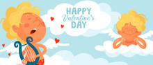 Cute Funny Cupid Plays The Harp. Another Angel Lies On A Cloud And Listens To Music. Cartoon Vector Valentine's Day Card Or Banner
