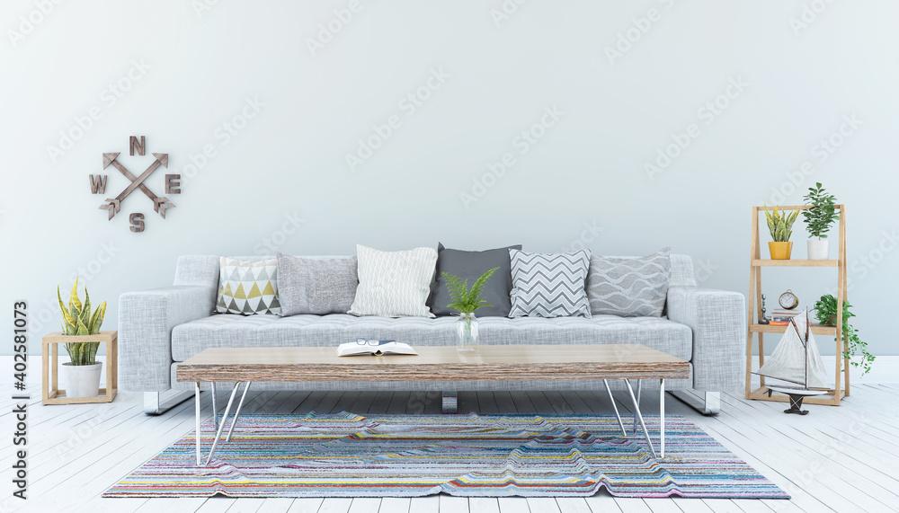 Fototapeta 3d Illustation - Skandinavisches, nordisches Wohnzimmer mit einem Sofa, Tisch - Textfreiraum - Platzhalter