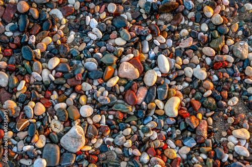Obraz na plátně Macro shots, Beautiful nature scene. Pebbles on a Beach