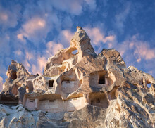 Unique Geological Formations With Birdhouses And Dovecotes In Red Valley, Cappadocia, Central Anatolia, Turkey.
