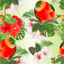 Seamless Texture Tropical Funny Bird  With Tropical Flowers   Strelitzia And Pink And White Hibiscus   Palm,philodendron And Schefflera And Monstera Watercolor Vintage Vector Illustration