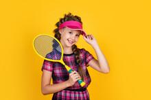Sport Teen Kid In Fitness Cap Holding Tennis Or Badminton Racket, Junior Player