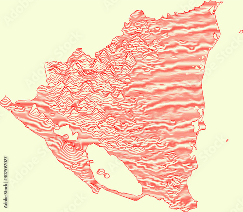Obraz na plátně Topographic map of Nicaragua with red contour lines on beige background