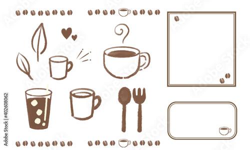 Obraz na plátne イラスト素材 コーヒーイラストセット