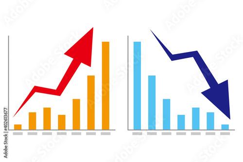 Photo 上昇と下降の棒グラフと矢印