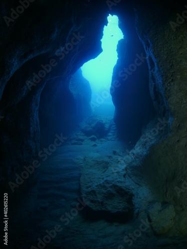 Fotografie, Obraz cave scenery underwater cave dive diving in caves ocean topography landscape sce