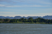 Khong River On Moutain Background.