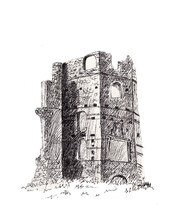 Hand Drawn Black Ink Sketch With Old European Stone Castle Wall. Half Ruined Tower Wall In Belarus. Monochrome Pen Illustration For Print, Post Card, Package. Historical Artwork On Paper.