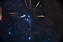 Blurred Light Pattern Of The Fireworks As Background