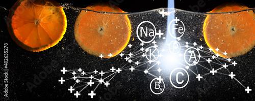 Water drops on ripe sweet orange Poster Mural XXL