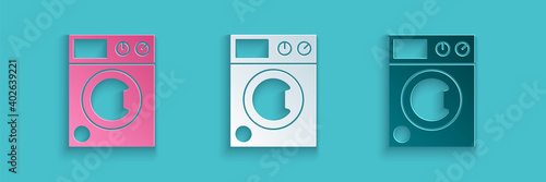 Obraz Paper cut Washer icon isolated on blue background. Washing machine icon. Clothes washer - laundry machine. Home appliance symbol. Paper art style. Vector. - fototapety do salonu