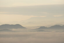 Landscape Mountain With Fog In The Morning At Phu Thok At Chiang Khan Loei Thailand - Soft White Nature Scene Abstract