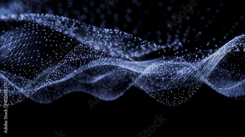 Medical Innovation concept. Scientific information represented as a High Tech Futuristic Particle Network. Abstract background. 3D render