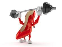 High Heels Character Lifting Heavy Barbell