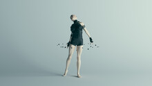 Futuristic Female Assassin Character In Pure Black Bodysuit With With The Power Of Telekinesis  3d Illustration Render