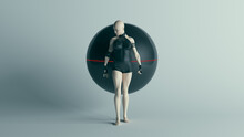 Futuristic Female Character Standing Aggressively With Black With Alien Geo Sphere AI Super Computer Droid 3d Illustration Render