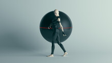 Futuristic Female Character In Black Walking With Alien Geo Sphere AI Super Computer Droid 3d Illustration Render