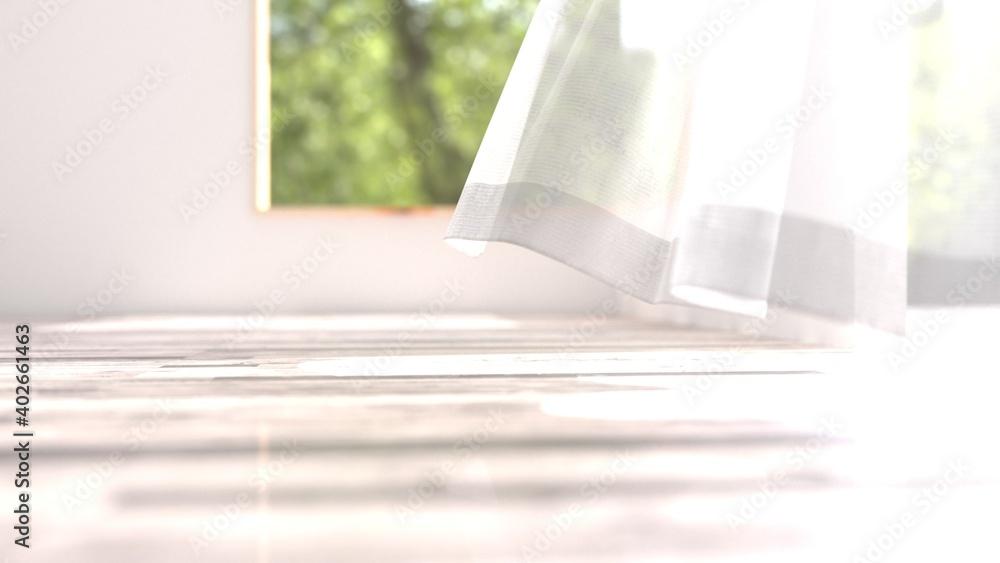 Fototapeta 風でカーテンが揺らめく部屋の3Dイラスト