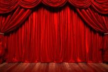 赤いカーテンの劇場の3Dイラスト