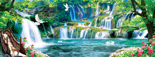 3d Mural Colorful Landscape . Flowers Branches Multi Colors With Trees And Water . Waterfall And Flying Birds . Suitable For Print On Canvas
