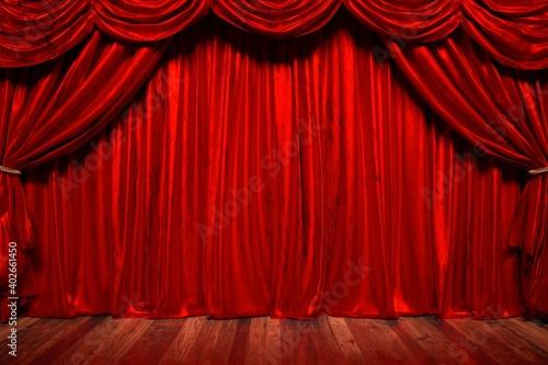 Papel de parede 赤いカーテンの劇場の3Dイラスト